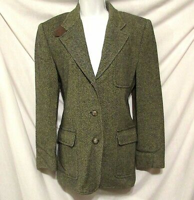 Vintage RALPH LAUREN Herringbone Equestrian Elbow Patch Wool Blazer Jacket 10
