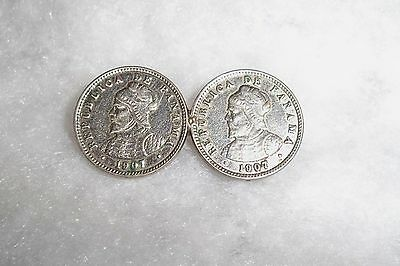 Antique (Two) Double 1907 De Panama Silver Coins Brooch Jewelry-Hand Forged