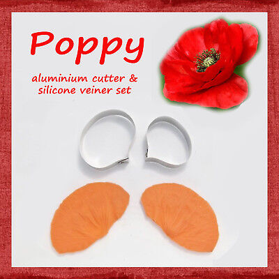 POPPY - flower cutter and veiner set FOR FONDANT, GUM PASTE, POLYMER CLAY