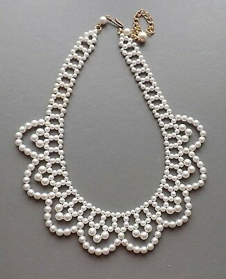 Fabulous Faux pearl collar drape bib necklace .. white bead bridal jewellery