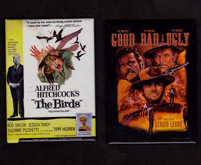 """- TWO diff.1995  kitchen movie magnets  """"The Good The Bad & Ugly"""" & """"The Birds"""""""