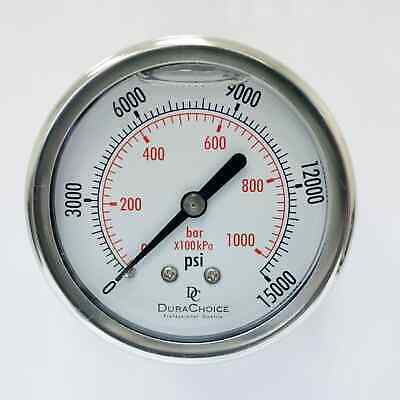 "2"" Pressure Gauges - Stainless Steel Case, 1/4"" NPT, Ctr. Back Mnt. 0-15000PSI"