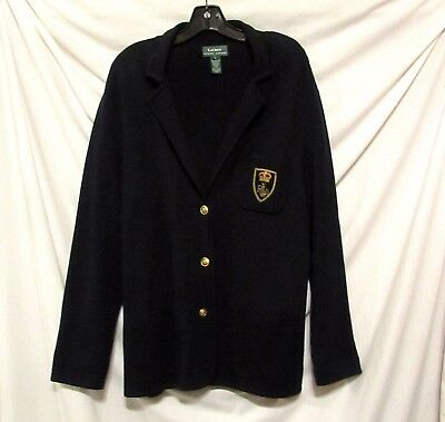 Preppy Chic RALPH LAUREN Navy Blue CREST Cotton Cardigan Sweater Jacket sz 14