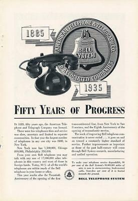 Vintage Magazine Ad - 1935 - AT&T / Bell System - 50 Years of Progress