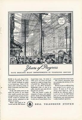 Vintage Magazine Ad - 1935 - AT&T / Bell System - Years of Progress