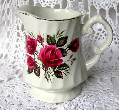 Wood and Sons Rose Royale Red Rose Vintage English Ironstone Creamer c.1960s