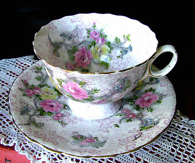 Atlas Grimwades Pink Yellow Roses Antique Pink Lace Chintz Teacup & Saucer c1906