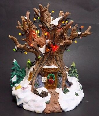 Disney Christmas Village Winnie The Pooh Tree House Light Up Winter Holiday