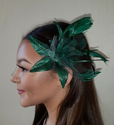 Teal emerald green Lily Flower with Feather glitter Polka dot on comb Fascinator