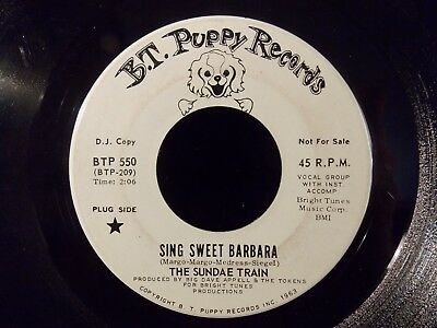 Sing Sweet Barbara/Love Affair Of Two Happy People by The Sundae Train (7) Promo