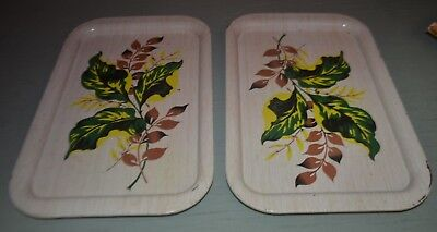 "VINTAGE beige w/ green, yellow, brown METAL TIN SNACK SERVING TRAYS 8.75"" X 14"""