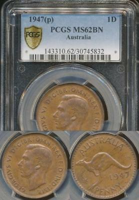 Australia, 1947(p) One Penny, 1d, George VI - PCGS MS62BN (Uncirculated)