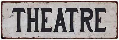 THEATRE Black on White Shabby Chic Metal Sign 6x18 Room Rustic Decor 61804297