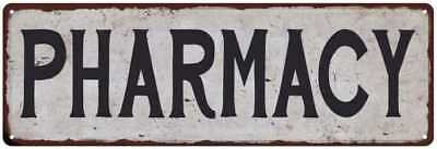 PHARMACY Black on White Shabby Chic Metal Sign 6x18 Room Rustic Decor 61804315