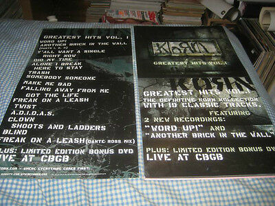 KORN-(greatest hits-vol.1)-1 POSTER FLAT-2 SIDED-12X24-NMINT-RARE