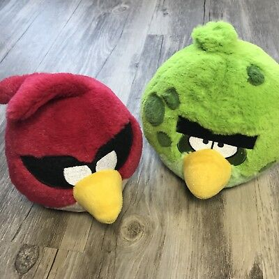 Angry Birds Red and Green Bird Plush Lot Of 2 Non-Talking Rovio Stuffed Animals