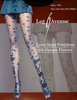 Leg Avenue Fashion Lycra Sheer Pantyhose with Opaque Flowers One Size