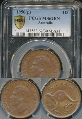 Australia, 1950(p) One Penny, 1d, George VI - PCGS MS62BN (Uncirculated)