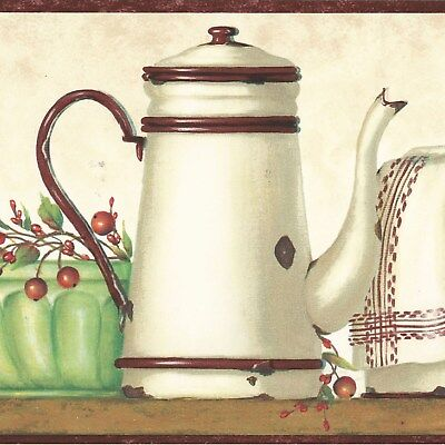 Canada$ - Country Dishes & Berry on Shelf - 45 feet ONLY $25 Wallpaper Border CR