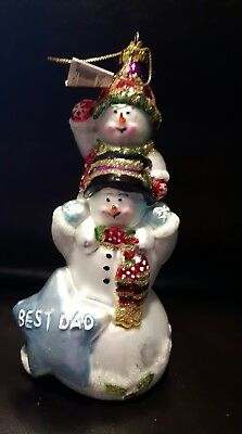 glass ornament best dad snowman snowmen cobane wallace new with tag sparkly