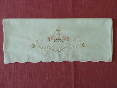 "Vintage Cotton Linen Table Scarf/Doily with Pink Embroidery Design, 19""x13"""