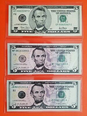 $5 FRN Error Note Cutting Error,Insufficent Ink and Overinking on Seals(3 notes)