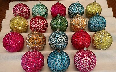 Lot of 18 Max Eckardt (Shiny Brite) Christmas Ornaments w/Boxes Made in Italy