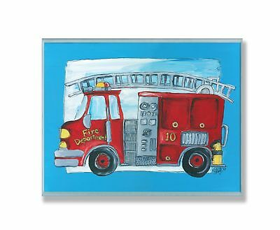 The Kids Room by Stupell Fire Truck with Blue Border Rectangle Wall Pl... NO TAX