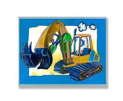 The Kids Room by Stupell Yellow Excavator with Blue Border Rectangle W... NO TAX