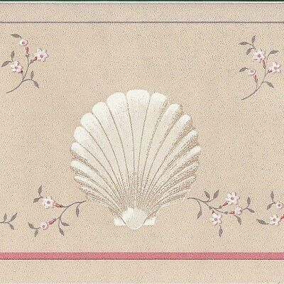 Canada$ - Soft Baht Shells - Pink White - 30 feet ONLY $10 Wallpaper Border CR