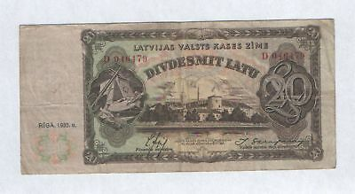 Latvia Government State Treasury Note 20 Latu 1935 Issue Rare