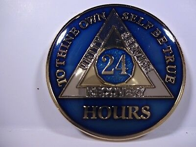AA Blue Gold 24 HOUR Coin Tri-Plate Alcoholics Anonymous Medallion Sobriety Chip