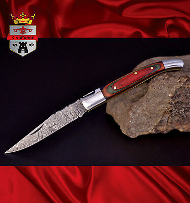 Damascus folding knife, 034MC1 Laguiole KingForge custom made pocket knives gift