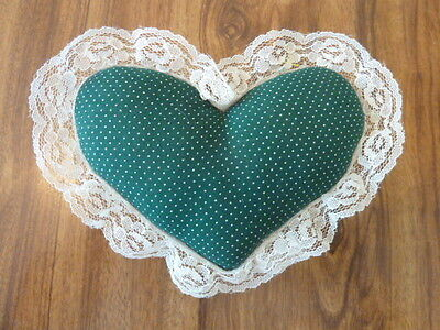 """Homemade Fabric Heart Shaped Pin Cushion With Lace Edging 6""""x4"""" Green"""