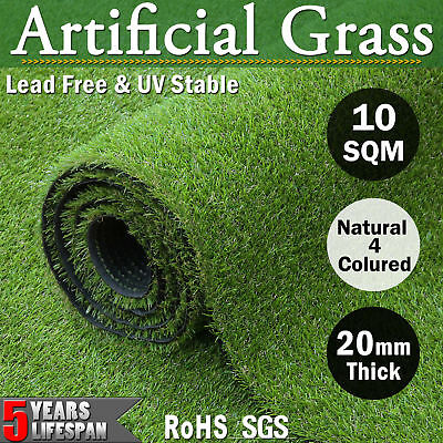 10 SQM Roll Synthetic Grass Artificial Turf Outdoor Fake Lawn Flooring 20MM