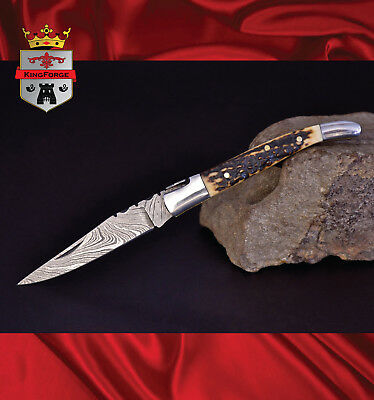 Damascus folding knife, 034SM1 Laguiole KingForge custom made pocket knives gift