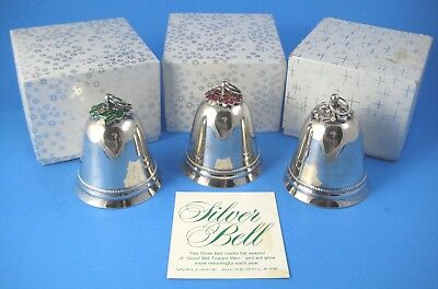 3 Wallace Silverplate 1973 Silver Bell Ornaments Holly Poinsettia Snowflake