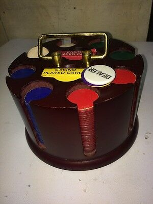 Vintage Wood Poker Chip Caddy Card Holder Rotating Carousel With 4gChips & Cards