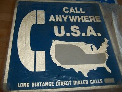 2 NEW PAYPHONE SIGN W/ FLANGE DOUBLE SIDED METAL large 18x18 CALL ANYWHERE USA