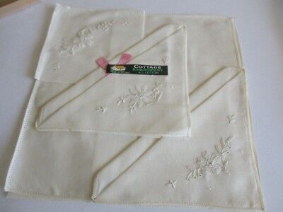 """Set of Three New All Cotton Cottage Embroidery Handkerchief 10"""" Made in Ireland"""