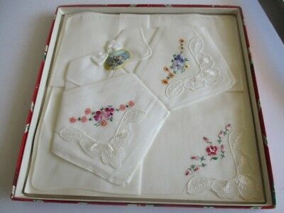 """New Box Set of Three Embroidery All Cotton Handkerchief Made in Switzerland 10"""""""