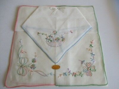 """Set of Three Embroidery All Cotton Handkerchief Made in Switzerland 10"""" New"""