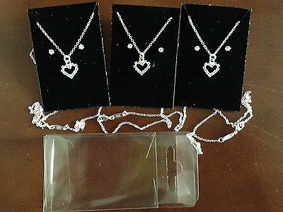 "JOB LOT 3 sets of diamonte heart pendant+18"" sterling silver overlaid chain."