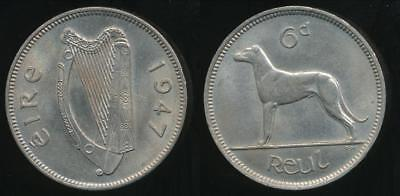 Ireland, Republic, 1947 Sixpence, 6d - almost Uncirculated