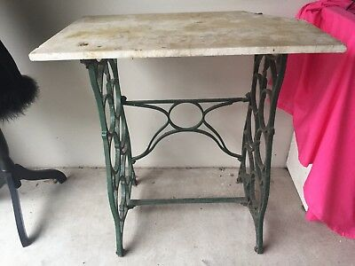 Antique Sewing Table Marble Top Iron Garden Pot Display