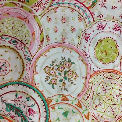 Vintage Dinner Plate Cotton Quilting Patchwork Craft Sewing Fabric 1/2 Half Yard
