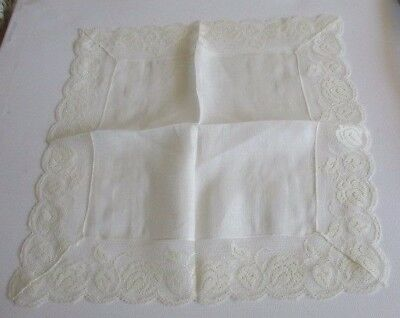 """New White Cotton Lace Trimmed Handkerchief 10"""""""