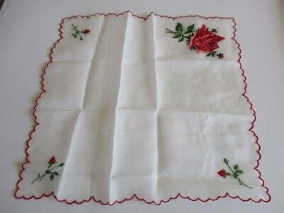 """New Embroidered Cotton Handkerchief Red Rose Floral Design 10"""""""