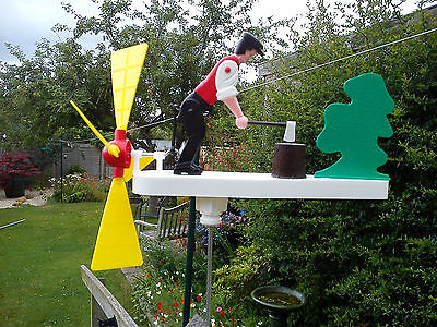 Wood Chopping Whirligig, Windmill, Whirlygig,  Garden Windmill, Wind Spinner