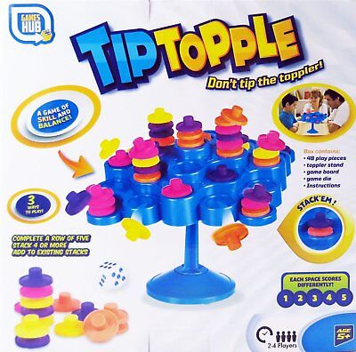 Tip Topple Family Stacking Balance Board Game 2-4 Players For Kids Aged 5+ Years